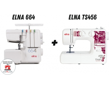 Швейная машина Elna TS456 + оверлок Elna 664 – супер акция! фото